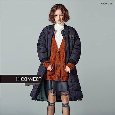 H:CONNECT 韓國品牌 女裝-雙口袋麻花針織外套-棕