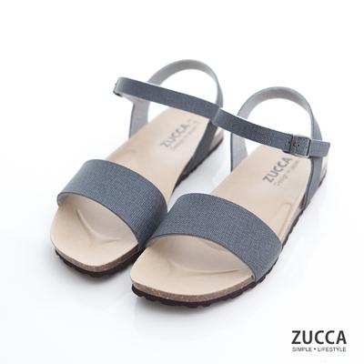 ZUCCA-質感皮革扣環素帶涼鞋-藍-z7007be