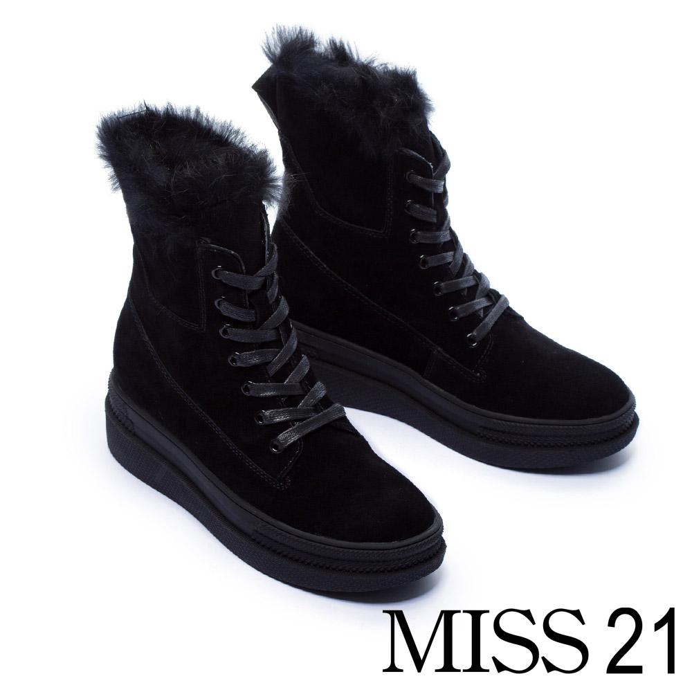 中筒靴 MISS 21 暖暖兔毛造型麂皮厚底中筒靴-黑