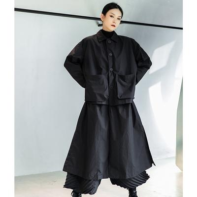 設計所在Style-日式森系暗黑風韓版大口袋假兩件設計寬鬆薄風衣
