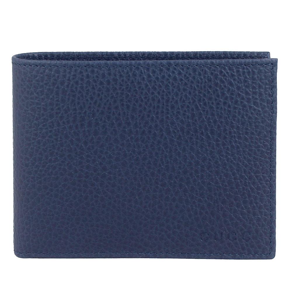 GUCCI 藍色荔枝紋真皮皮革多夾層短夾(12卡/大)GUCCI