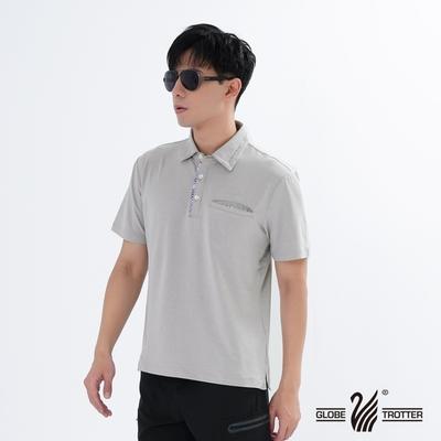 【遊遍天下】男款格紋抗UV機能POLO衫GS1012灰色