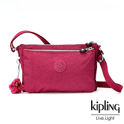 Kipling莓紫素面側背包小