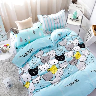 A-ONE 雪紡棉 單人床包/枕套 二件組-遇見貓 MIT台灣製