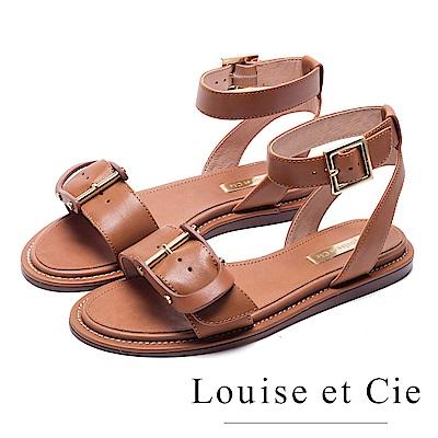 Louise et Cie 金屬釦寬版繞踝平底涼鞋-棕色