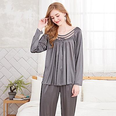 睡衣 彈性珍珠絲質 長袖兩件式睡衣(R57203-6灰色)台灣製造 蕾妮塔塔