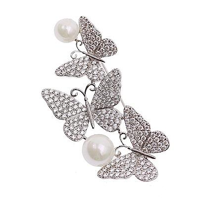 梨花HaNA 韓國手工鑲嵌三只蝴蝶優雅珍珠胸針