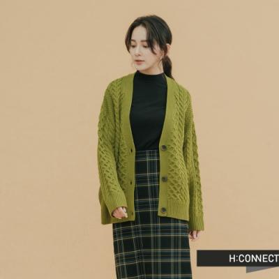 H:CONNECT 韓國品牌 女裝 - 麻花造型針織外套 - 綠