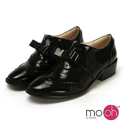 mo.oh-全真皮-漆皮蝴蝶結粗跟牛津鞋-黑色