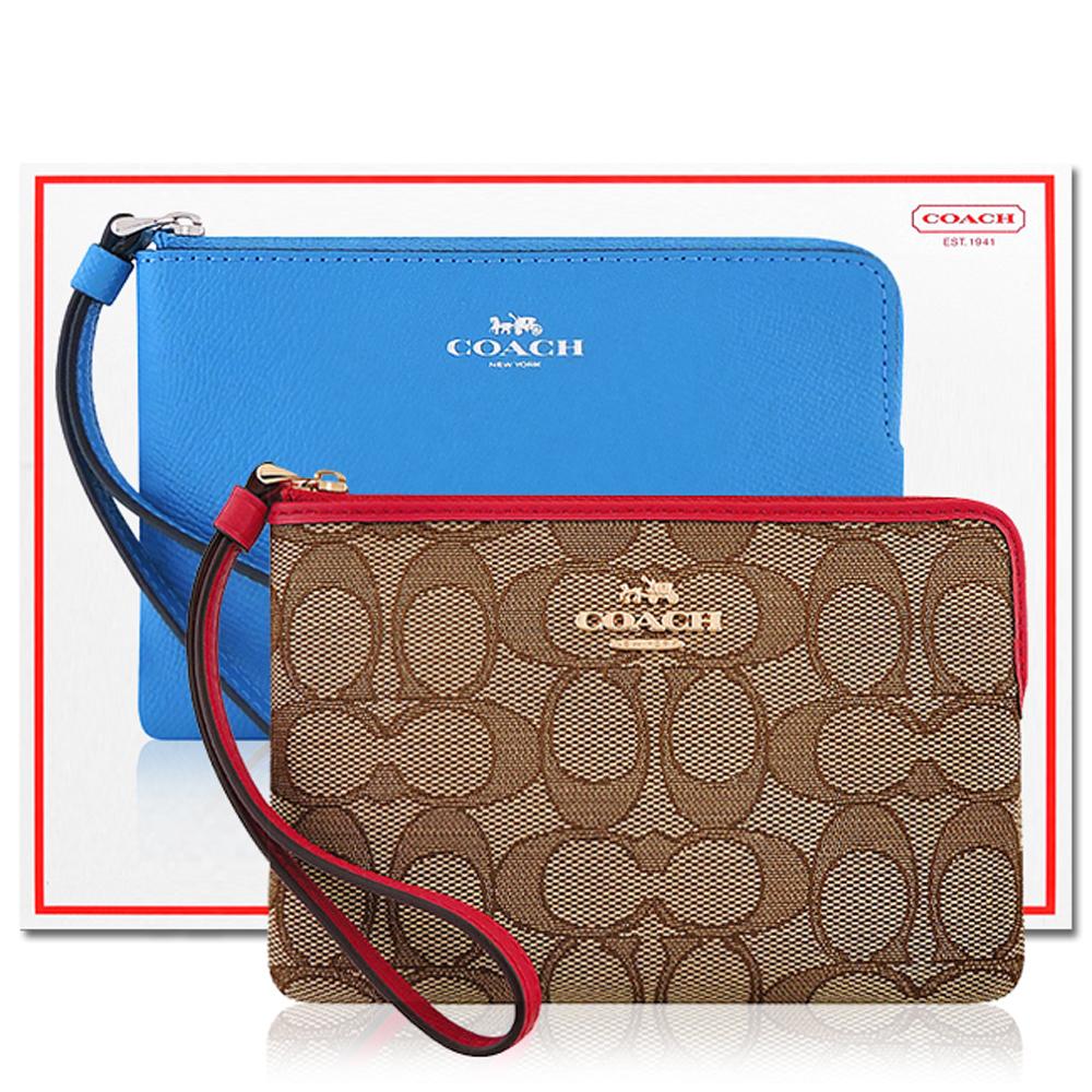 COACH 紅色大C織紋手拿包+COACH 水藍色防刮皮革手拿包 @ Yahoo 購物