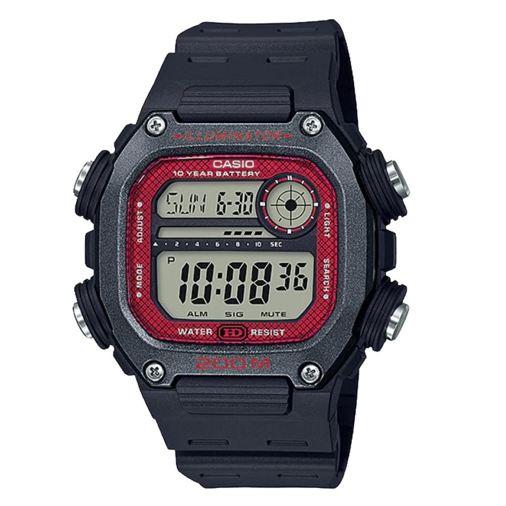 CASIO Youth 數碼運動電子腕錶-黑X紅(DW-291H-1BVDF)