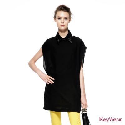 KeyWear奇威名品    俏皮時尚無袖洋裝-黑色