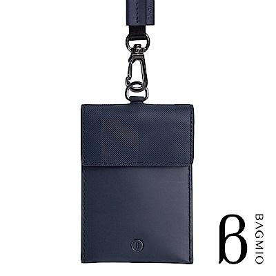 BAGMIO authentic 牛皮名片證件套 午夜藍 附織帶
