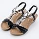River&Moon大尺碼女鞋 一字皮質朵結鑽扣楔型涼鞋 黑 product thumbnail 1
