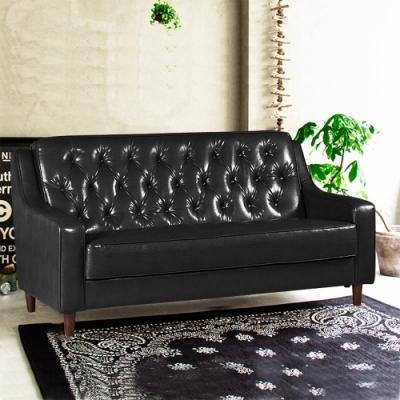 Ally愛麗-新上海-百年經典復古三人沙發172cm-三人座皮沙發-黑色