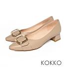 KOKKO - 復古時尚小方頭羊皮梯型粗跟- 藕灰
