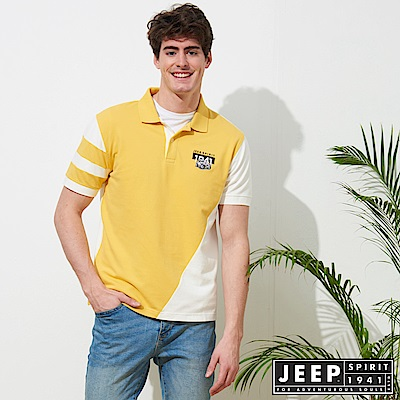 JEEP 運動風拼接短袖POLO衫-黃色
