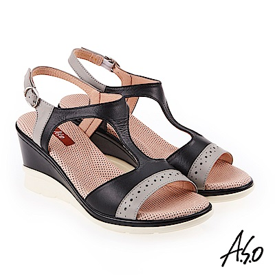 A.S.O 挺麗氣墊 沖孔拼接T型全真皮氣墊楔型涼鞋 黑