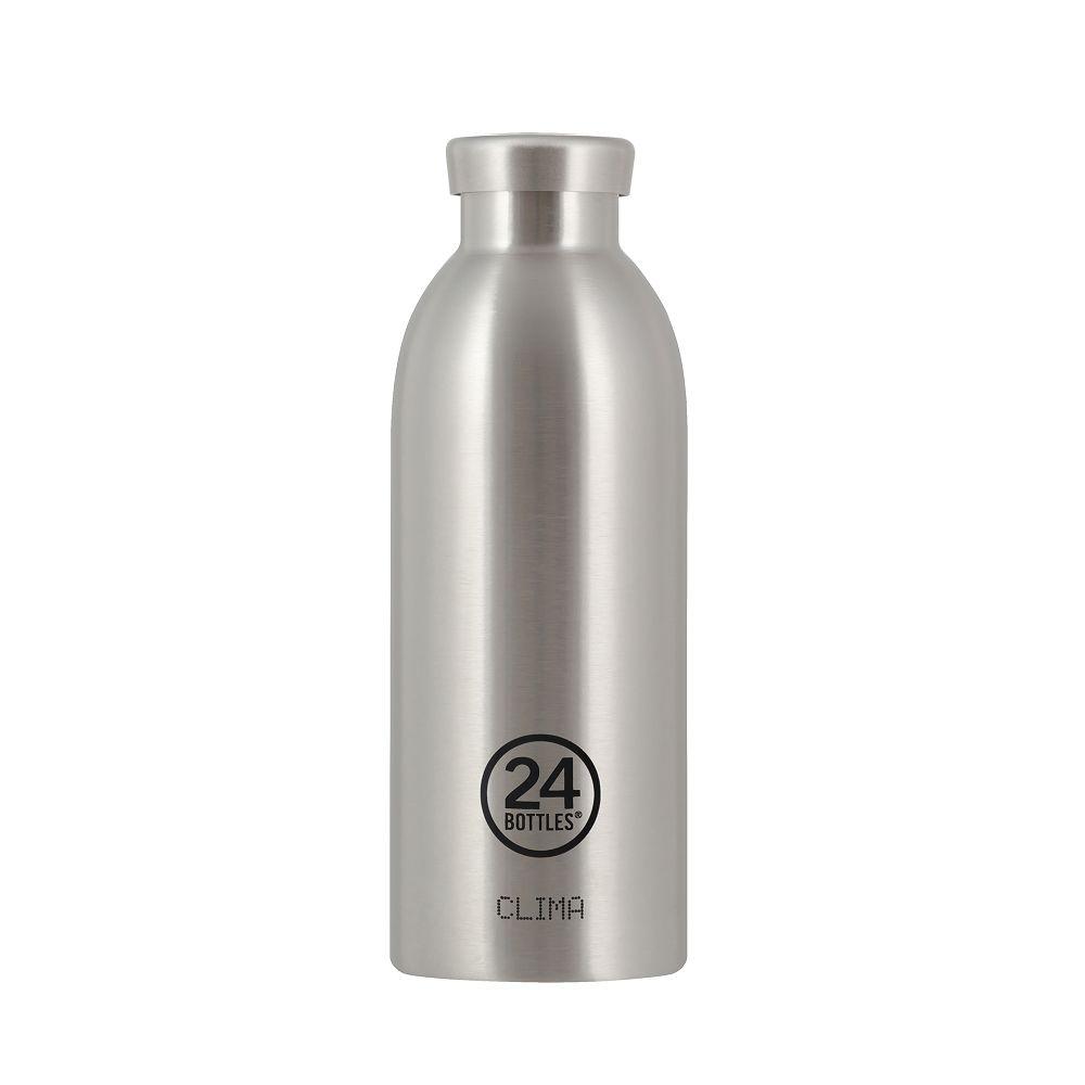義大利 24Bottles不鏽鋼雙層保溫瓶500ml-不鏽鋼色