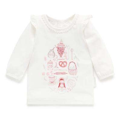 澳洲Purebaby有機棉女童印花長T-上衣1~3歲