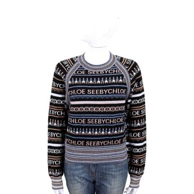 SEE BY CHLOE Logo滿版圖騰針織羊毛衫