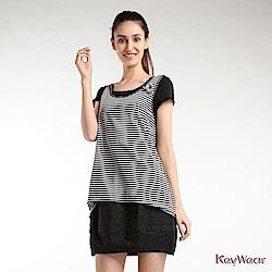 KeyWear奇威名品    幾何休閒假二件短袖洋裝-白色