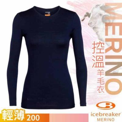 Icebreaker 女 200 Oasis 美麗諾羊毛輕薄款長袖圓領上衣_深海藍