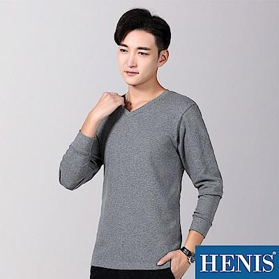HENIS 韓系V領-四季百搭純色棉T-深灰