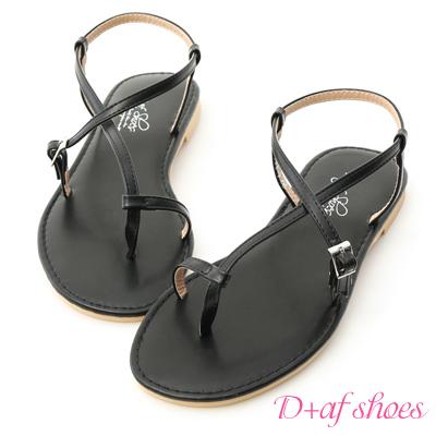 D+AF 涼感夏日.交叉線條套指平底涼鞋*黑