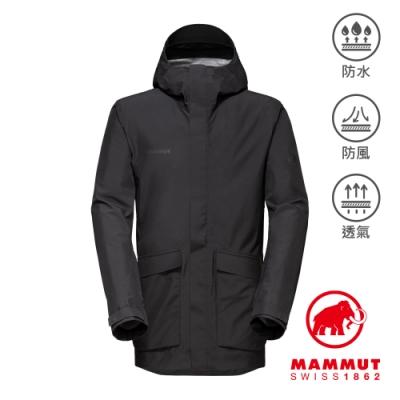 【Mammut 長毛象】Mammut 3L HS Hooded Jacket Men GTX多口袋連帽外套 黑色 男款 #1010-28560