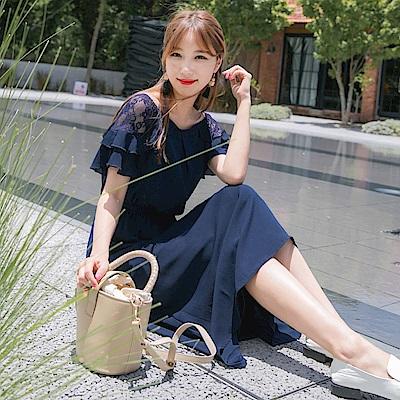 荷葉袖口蕾絲雕花拼接純色長洋裝-OB大尺碼