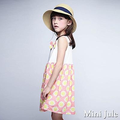 Mini Jule 洋裝 立體蝴蝶結花朵印花裙襬無袖洋裝(粉)