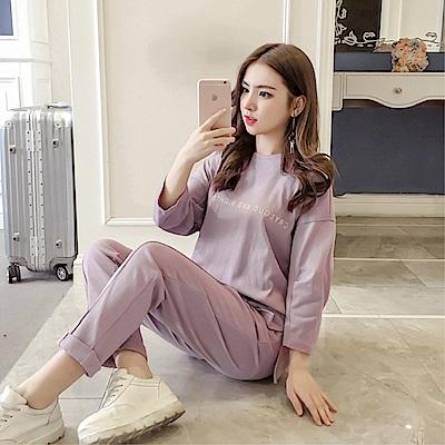 DABI 韓國風蘿卜褲復古心機男友原宿風休閒套裝長