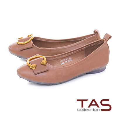 TAS C字金屬扣飾羊皮娃娃鞋-焦糖卡其