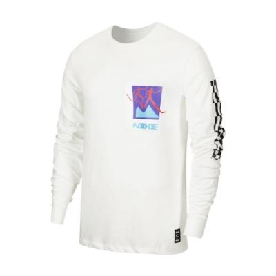 Nike 長袖T恤 Chaz Bundick Top 男款 Dri-FIT 吸濕排汗 純棉 塗鴉 圓領 白 彩 CW0942133