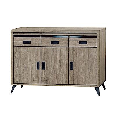 綠活居 亞非德時尚4尺木紋餐櫃/收納櫃-120x40.5x84cm-免組