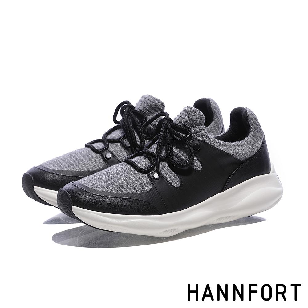 HANNFORT BUBBLES暖心針織跑鞋-女-針織黑