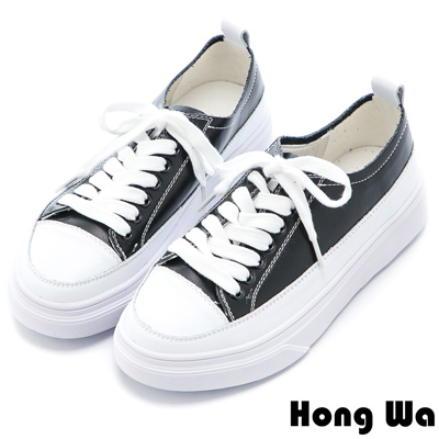 Hong Wa 休閒綁帶厚底牛皮小白鞋 - 黑