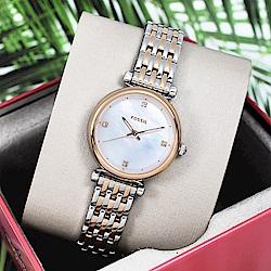 FOSSIL 美國精品手錶CARLIE MINI簡約晶鑽刻度手錶鍊錶 銀x玫瑰金29mm