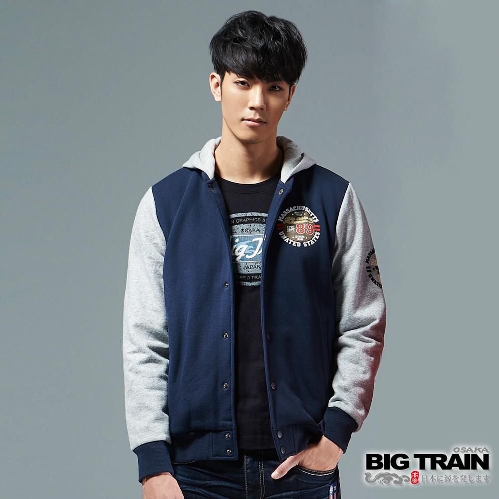BIG TRAIN 經典棒球連帽外套-男-深藍