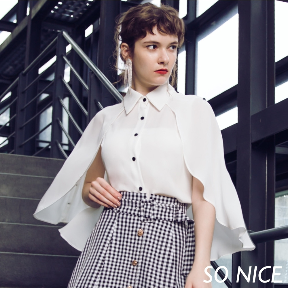 SO NICE優雅披風造型雪紡襯衫