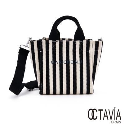 OCTAVIA8 - MAR.CHEN.J 黑白直紋帆布小包-黑白條