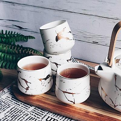 Homely Zakka 北歐時尚大理石陶瓷茶杯組(白色)
