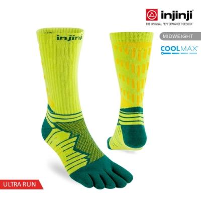 【INJINJI】Ultra Run終極系列五趾中筒襪[螢光綠]