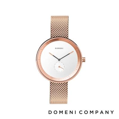 DOMENI COMPANY 經典系列 316L不鏽鋼單眼錶 玫瑰金錶帶 -白/32mm