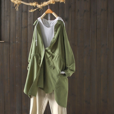 純棉收腰顯瘦中長版襯衫外套寬鬆上衣-設計所在