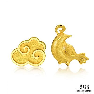 點睛品 吉祥系列 祥雲喜鵲 黃金耳環