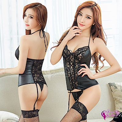 Sexy Cynthia 馬甲 魅惑黑色仿皮綁脖式馬甲吊襪帶四件組-黑F