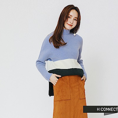 H:CONNECT 韓國品牌 女裝-撞色高領針織上衣-藍