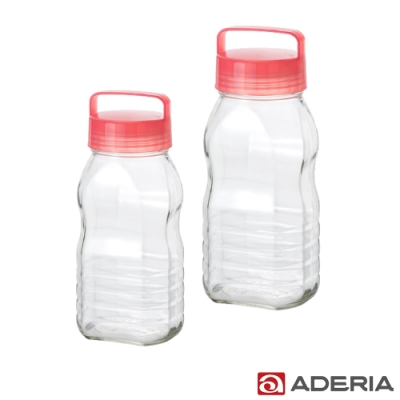 ADERIA 日本進口長型醃漬玻璃罐1.2+2L(粉)